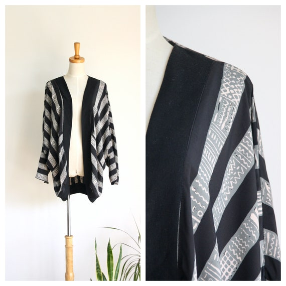 80s Abstract cocoon coat. Black striped jacket. sc