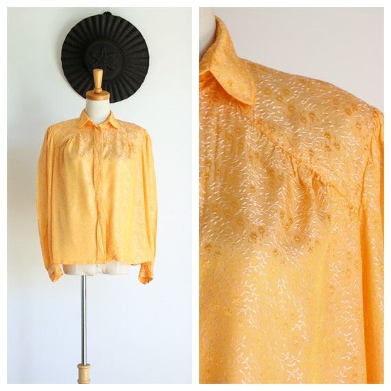 Vintage yellow blouse. Puffy sleeve blouse. Puff s