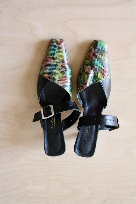 Vintage Neon green 90s heels. 90s Snakeskin mules… - image 2