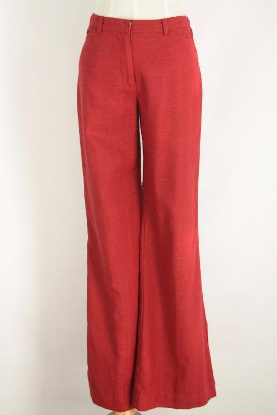Red linen 90s pants. Red straight leg pants. Natu… - image 4