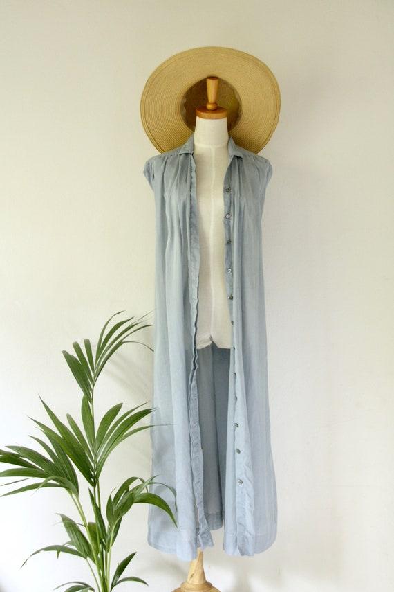 Vintage PRUE ACTON blue dress. Blue Cotton duster… - image 3
