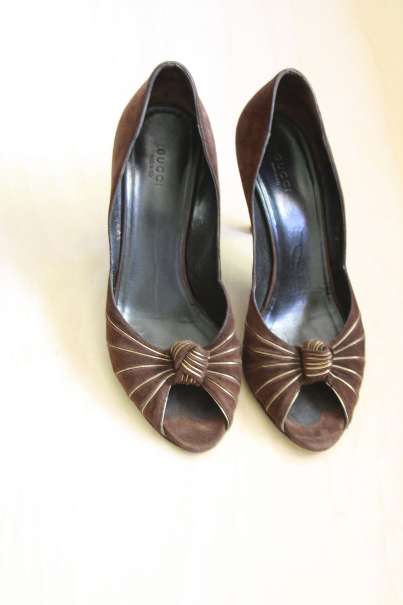 e9ee5b6f7 GUCCI brown suede pumps. Gucci leather peep toe heels. Brown | Etsy