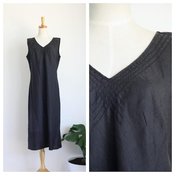 90s black linen maxi dress. 90s Minimalism dress.