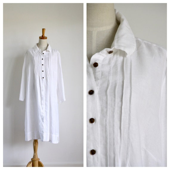 Vintage White linen dress. Linen shirt dress. Summ