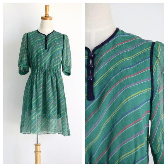 Vintage green summer dress. Japanese dress. Green