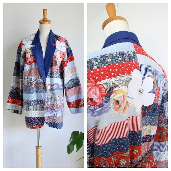 Vintage patchwork jacket. Quilt jacket. Blue 80s p