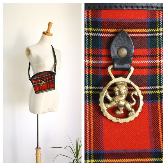 Vintage red tartan bag. Scottish handbag. Tartan p