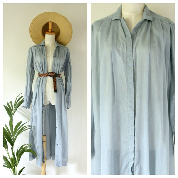 Vintage PRUE ACTON blue dress. Blue Cotton duster.