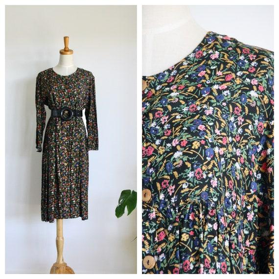 90s Black floral dress. Black maxi dress. Black wi