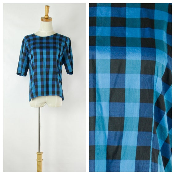 Electric Blue and black check silk top. Womens pla