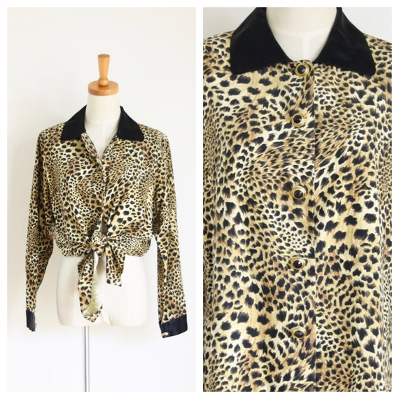 Silk Leopard blouse. Animal print Silk blouse. 80s