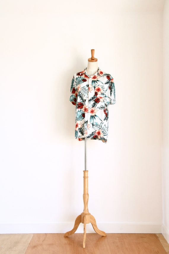 Mens 90s tropical shirt. Tiki party shirt. Mens su