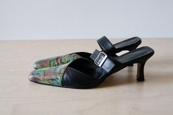 Vintage Neon green 90s heels. 90s Snakeskin mules… - image 6