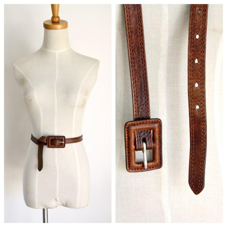 Caramel brown leather belt Vintage skinny brown leather belt 33w Square buckle belt Womens belt 37w