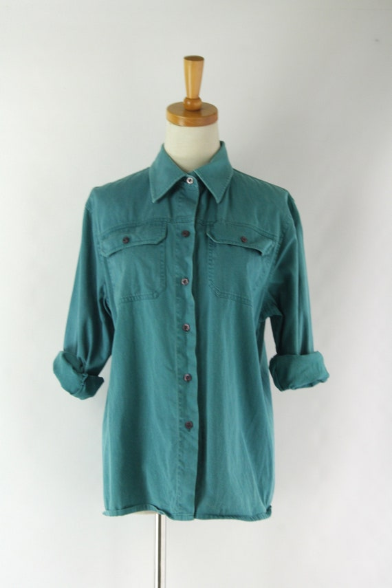 Mens teal blue work shirt. Vintage chore shirt. 90
