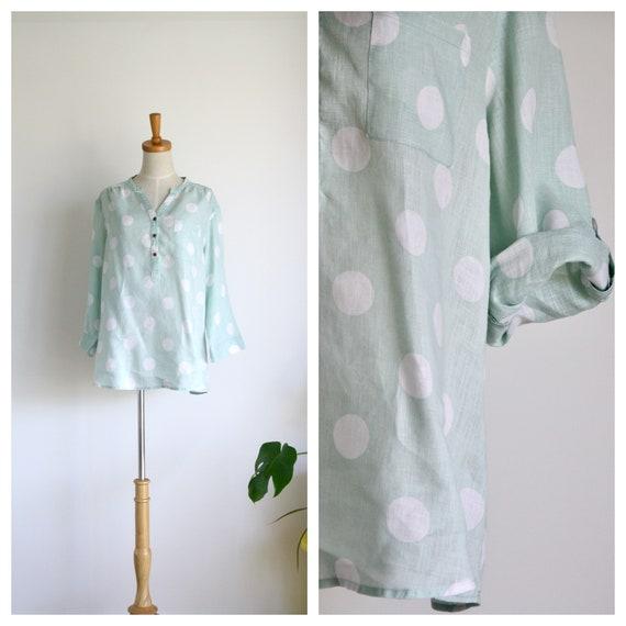 Pastel mint green linen top. Polka dot linen top.