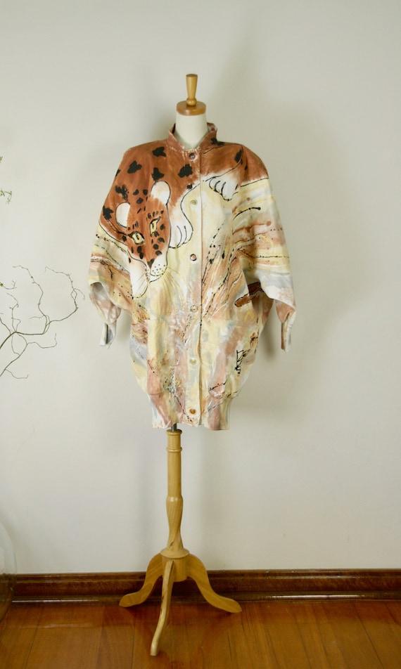 Leopard jacket. 80s Trophy jacket. 80s Hand Painte