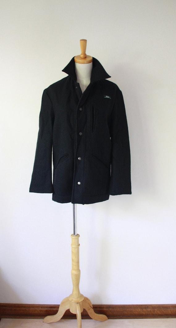Black wool sailor coat. Vintage wool pea coat. Bla