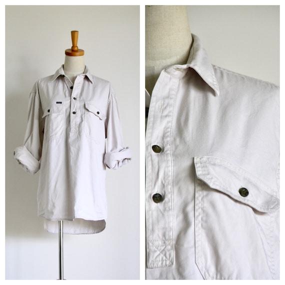 Mens 90s bone shirt. Mens workwear shirt. Mens 90s