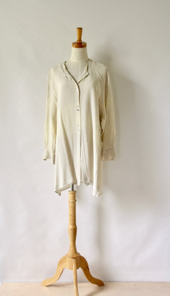 90s beige top. Neutral tunic. 90s Crinkle top. Min