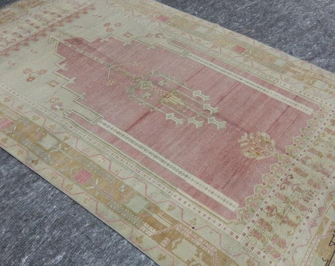 4'4'' x 7'7'' Anatolian Rug, Vintage Rug, Old Rug, Handmade Rug, Natural Rug, Wool Rug, Floor Rug,Turkish Rug, Prayer Anatolia Rug, Pink
