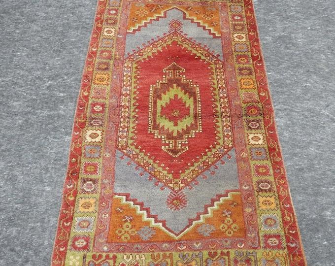 3'7'' x 6'7'' Anatolian Rug, Vintage Rug, Old Rug, Handmade Rug, Natural Rug, Wool Rug, Floor Rug,Turkish Rug, Red, Orange, Blue, Green