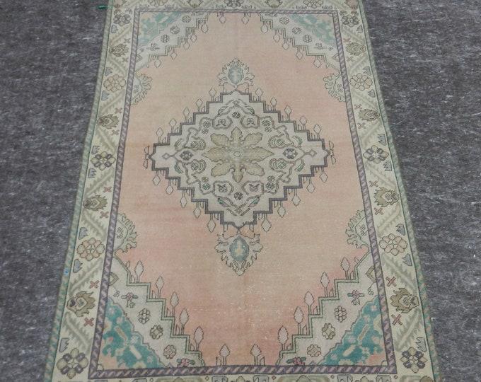 4'6'' x 7'2'' Anatolian Rug, Vintage Rug, Old Rug, Handmade Rug, Natural Rug, Wool Rug, Floor Rug,Turkish Rug, Pink, Beige, Green