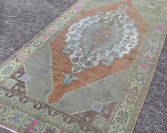 4'8'' x 9'8'' Anatolian Rug, Vintage Rug, Old Rug, Handmade Rug, Natural Rug, Wool Rug, Floor Rug,Turkish Rug, Gallery Size, Orange, Green