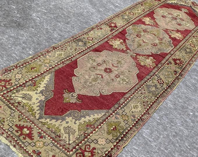 3'8'' x 10'10'' Anatolian Rug, Vintage Rug, Old Rug, Handmade Rug, Natural Rug, Wool Rug, Floor Rug,Turkish Rug, Runner Rug, Red, Beige