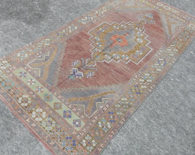 """Medallion Anatolia Rug, Turkish Red rug, Blue Rug, Vintage handmade rug, 54"""" x 104"""""""