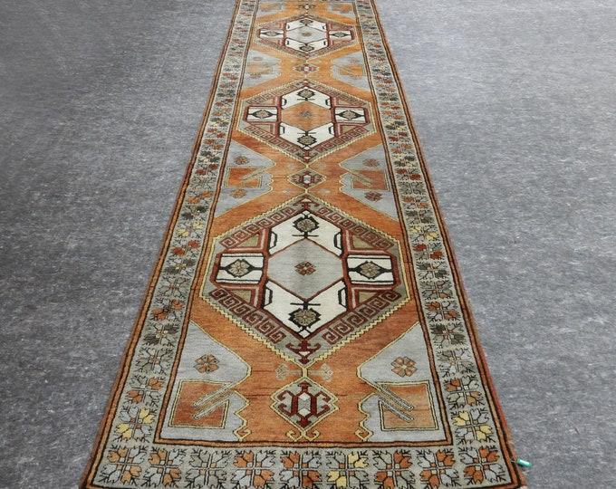 4x14 feet,foot,Anatolian Rug, Vintage Rug, Old Rug, Handmade Rug, Natural Rug, Wool Rug, Floor Rug,Turkish Rug, Gallery Size Rug, Orange Rug