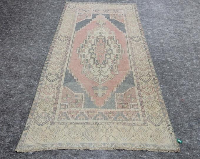 4'1'' x 7'10'' Anatolian Rug, Vintage Rug, Old Rug, Handmade Rug, Natural Rug, Wool Rug, Floor Rug,Turkish Rug, Gallery Size Rug, Pink Rug