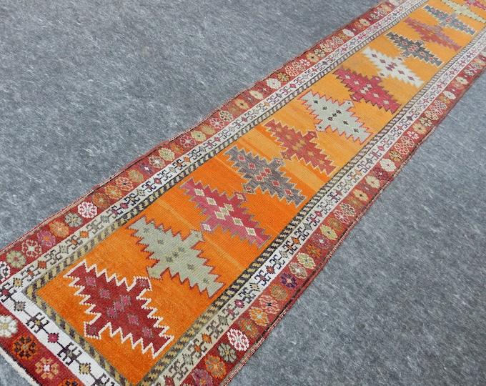 2'11'' x 13'2'' Anatolian Rug, Vintage Rug, Old Rug, Handmade Rug, Natural Rug, Wool Rug, Floor Rug,Turkish Rug, Red, Orange, Runner Rug