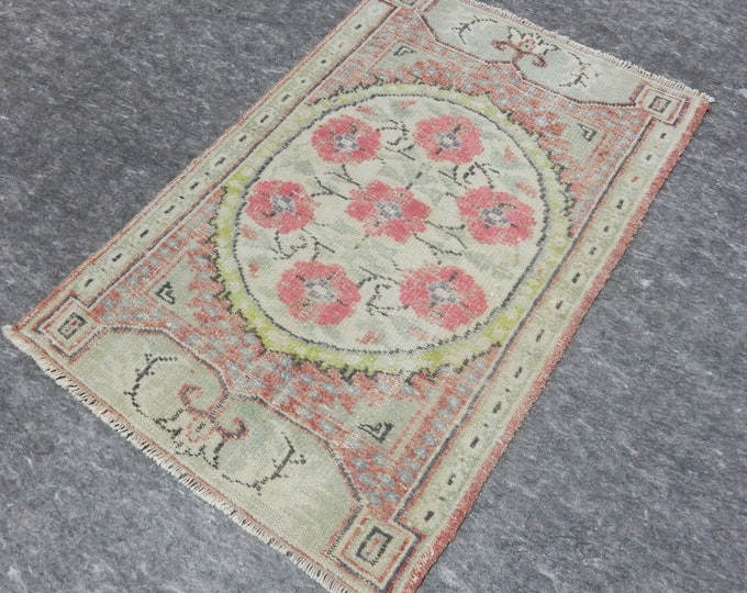 3 x 4, Small Rug, Anatolia Rug, Turkish Pink rug, Beige Rug, Vintage handmade rug, Flower Design, Distressed rug