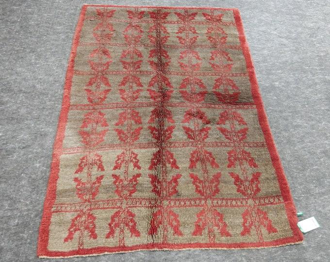 "Small Rug, Anatolia Rug, Turkish Red rug, Beige Rug, Vintage handmade rug, Flower Design, Distressed rug, 51"" x 78"""