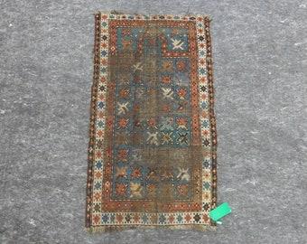 2'5'' x 4'4'' Anatolian Rug, Vintage Rug, Old Rug, Handmade Rug, Natural Rug, Wool Rug, Floor Rug,Turkish Rug, Red, Blue, Antique Rug