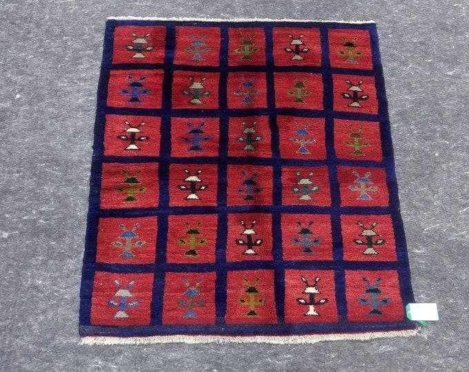 4'3'' x 3'10'' Anatolian Rug, Vintage Rug, Old Rug, Handmade Rug, Natural Rug, Wool Rug, Floor Rug,Turkish Rug, Red, Navy Blue, Small Rug