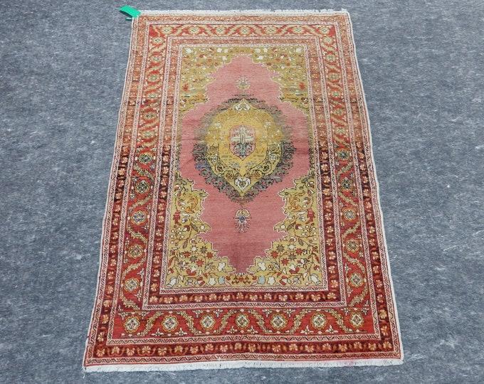 4'0'' x 6'0'' Anatolian Rug, Vintage Rug, Old Rug, Handmade Rug, Natural Rug, Wool Rug, Floor Rug,Turkish Rug, Pink, Red, Yellow, Medallion