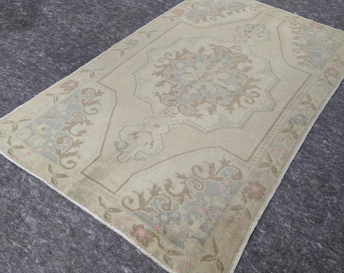 4'6'' x 7'7'' Anatolian Rug, Vintage Rug, Old Rug, Handmade Rug, Natural Rug, Wool Rug, Floor Rug,Turkish Rug, Area Rug, Wash, Beige
