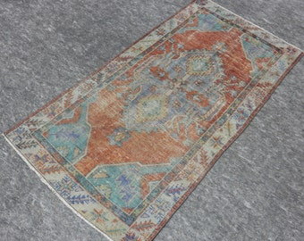 2'6'' x 4'10'' Anatolian Rug, Vintage Rug, Old Rug, Handmade Rug, Natural Rug, Wool Rug, Floor Rug,Turkish Rug, Area Rug, Orange, Navy Blue