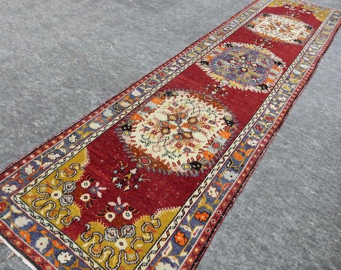 3'4'' x 13'4'' Anatolian Rug, Vintage Rug, Old Rug, Handmade Rug, Natural Rug, Wool Rug, Floor Rug,Turkish Rug, Red, Beige, Runner, Flover