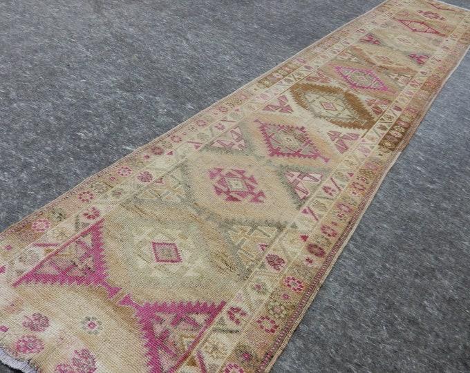 2'9'' x 13'10'' Anatolian Rug, Vintage Rug, Old Rug, Handmade Rug, Natural Rug, Wool Rug, Floor Rug,Turkish Rug, Beige, Pink, Runner Rug