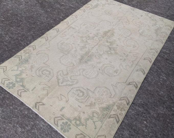 4'5'' x 7'2'' Anatolian Rug, Vintage Rug, Old Rug, Handmade Rug, Natural Rug, Wool Rug, Floor Rug,Turkish Rug, Area Rug, Wash, Beige, Gray