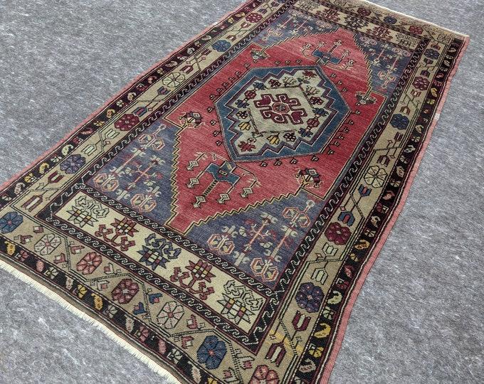 4'0'' x 7'6'' Anatolian Rug, Vintage Rug, Old Rug, Handmade Rug, Natural Rug, Wool Rug, Floor Rug,Turkish Rug, Gallery Size, Red,Brown,Beige