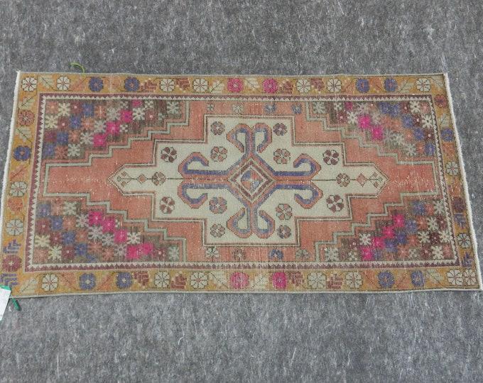2'9'' x 5'8'' Anatolian Rug, Vintage Rug, Old Rug, Handmade Rug, Natural Rug, Wool Rug, Floor Rug,Turkish Rug, Orange, Beige, Medallion Rug