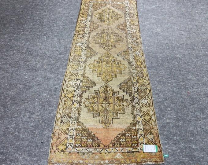 3'0'' x 8'9'' Anatolian Rug, Vintage Rug, Old Rug, Handmade Rug, Natural Rug, Wool Rug, Floor Rug,Turkish Rug, Runner Rug, Yellow Rug, Beige