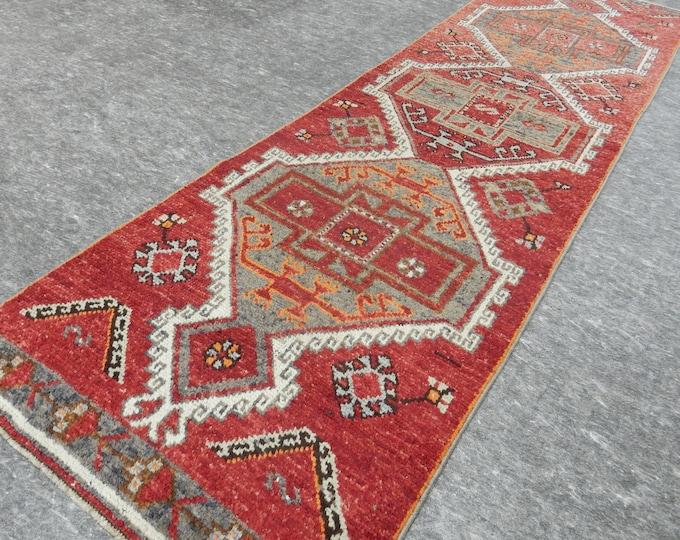 2'10'' x 10'4'' Anatolian Rug, Vintage Rug, Old Rug, Handmade Rug, Natural Rug, Wool Rug, Floor Rug,Turkish Rug, Red, Beige, Green, Runner