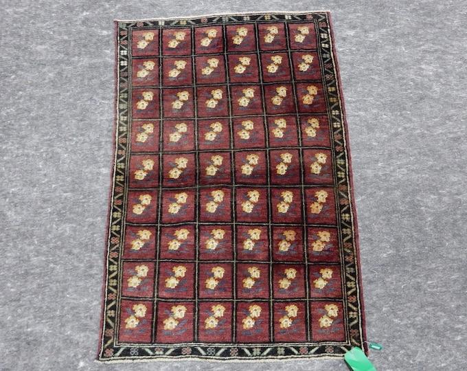 "Small Size, Anatolia Rug, Turkish  Red rug, Beige Rug, Vintage handmade rug, Flower Design, Distressed rug, 33"" x 50"""