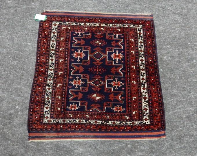 3'11'' x 3'10'' Anatolian Rug, Vintage Rug, Old Rug, Handmade Rug, Natural Rug, Wool Rug, Floor Rug,Turkish Rug, Small Red Rug, Square Rug