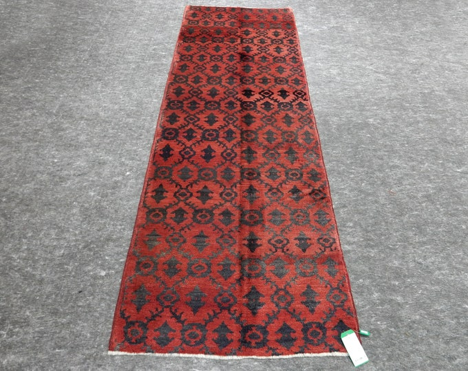 3'1'' x 9'4'' Anatolian Rug, Vintage Rug, Old Rug, Handmade Rug, Natural Rug, Wool Rug, Floor Rug,Turkish Rug, Runner Rug, Red Rug,Black Rug